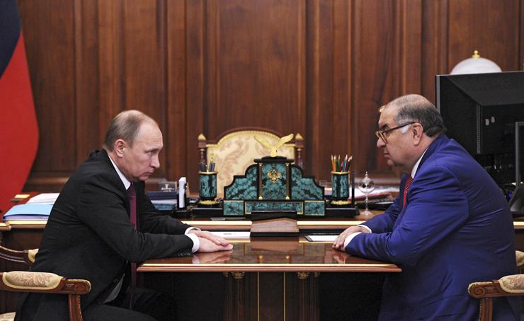האוליגרך אוסמנוב (שהשקיע בפייסבוק דרך מילנר) ונשיא רוסיה פוטין. מסמכי פרדייז חשפו שחלק מהמימון של עסקאות שעשה מילנר הגיע מגופים הקשורים לקרמלין