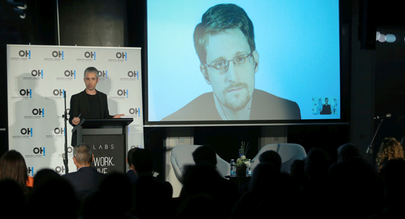Edward Snowden speaking to an audience in Tel Aviv in November. Photo: Orel Cohen