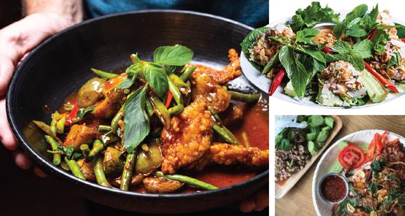 מימין ובכיוון השעון: מיאנג קאם (דג קצוץ על אורז קלוי), גאי יאנג (רבע עוף מפורק)   וג