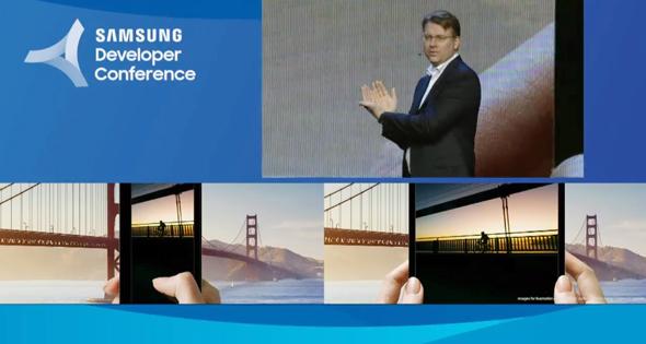 מתוך אירוע סמסונג אמש: הדגמת מבנה השימוש בטלפון שנפתח לטאבלט, צילום: יוטיוב