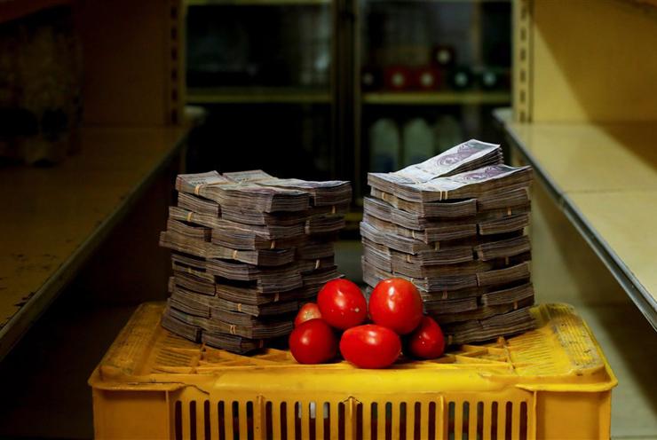 קילו עגבניות - 5 מיליון בוליבר (56 סנט)
