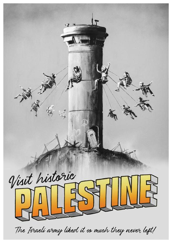 """הפוסטר של בנקסי: """"בקרו בפלסטין ההיסטורית"""", צילום: banksy.co.uk"""