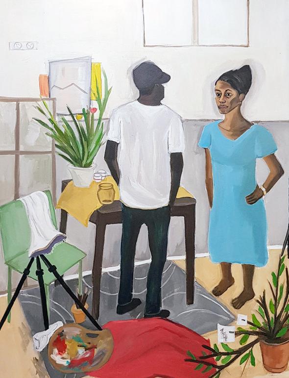 """יצירתה של ממיט וורקה """"בסטודיו"""". """"אני רואה אנשים מעניינים ברחוב ומבקשת לצייר אותם"""" , צילום: מיכל ממיט וורקה"""