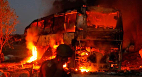 ירי רקטות עזה חמאס אטובוס, צילום: איי אף פי