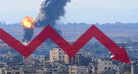 חץ יורד הפגזות של טילים ישראליים על עזה בעקבות שיגור על שדרות קאסם טיל רצועת עזה, צילום: איי פי