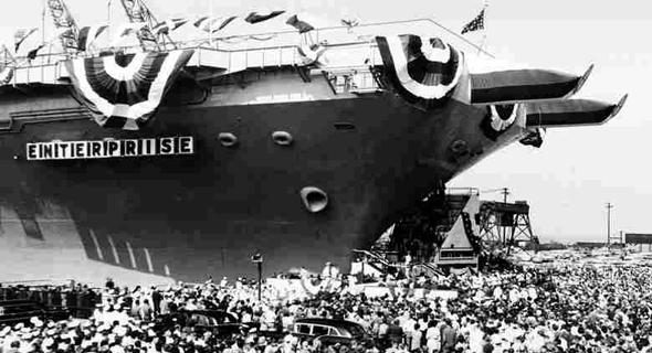השקת נושאת המטוסים האמריקאית אנטרפרייז