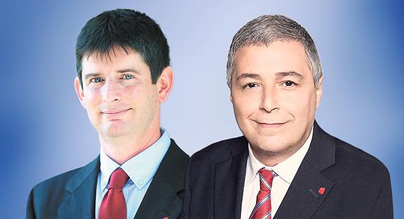 "מימין: מנכ""ל בנק הפועלים אריק פינטו ומנכ""ל ישראכרט רון וקסלר"