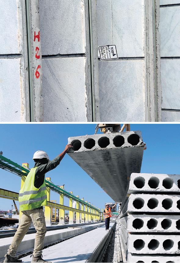 למעלה: קירות מחכים להרכבה. למטה: חיתוכי בטון של מפעל אשקריט. במפעל יש בקרת איכות טובה יותר מאשר לפועל בשטח, צילום: עמית שעל