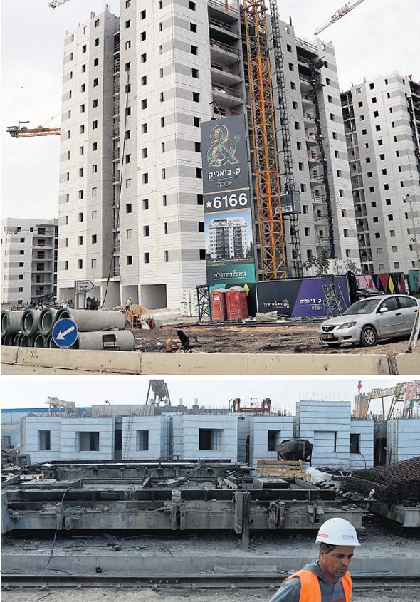 למעלה: האתר של גיא ודורון לוי שנבנה בבנייה מתועשת. למטה: חלקי בניין במפעל. הנדסת החומרים התקדמה, צילום: עמית שעל, גיל נחושתן