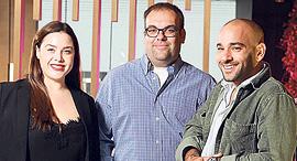 מנהלי המיזם גבריאל ישראל (מימין), גיא הילטון ומורן אגסי, צילום: אוראל כהן