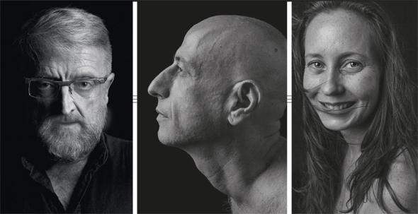"""דיוקנאות של מירי קנבסקי (מימין), אבינוף פרומר ופטריק לוי מהתערוכה בגלריה בית הבאר. """"האקטיביזם היה הדרך להתמודד עם השנים שנשארו להם"""""""