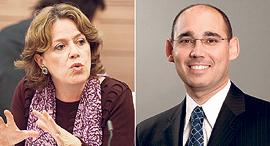 """מימין: נגיד בנק ישראל הנכנס אמיר ירון, ומ""""מ הנגיד נדין בודו טרכטנברג , צילום: עומר מסינגר"""