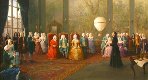 דה גסמאו מציג את הבלון שלו למלך פורטוגל