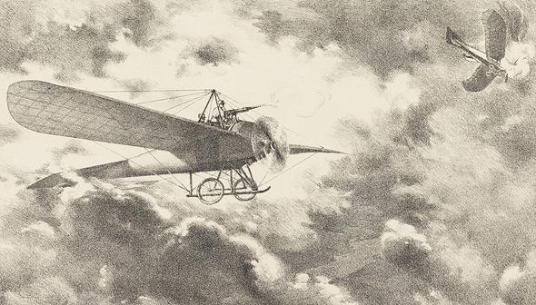 איור ההפלה הראשונה באש אוויר-אוויר, צילום: la grand guerre