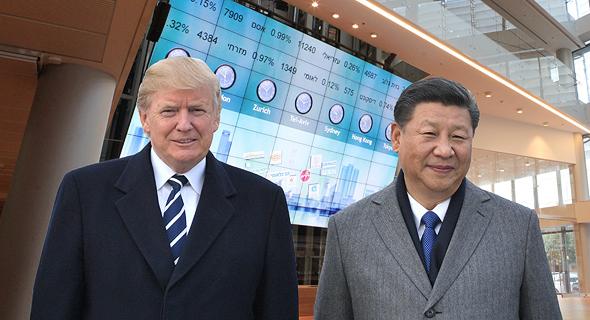 שי ג'ינפינג ודונלד טראמפ על רקע בורסת תל אביב