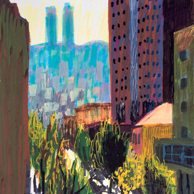 מוסף שבועי 6.12.18 של ה אמנית אנה לוקשבסקי ציור של ה עיר חיפה, איורים: אנה לוקשבסקי