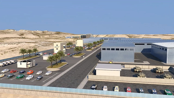 הדמיה של המפעל החדש של תעש מערכות המתוכנן להיבנות ברמת בקע בנגב