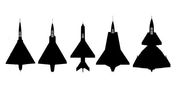 מטוסי התקופה. משמאל: ה-F102 האמריקאי, המיראז' 3 הצרפתי, המיג 21 הסובייטי, הדראקן השבדי והמטוס עליו תקראו עוד רגע