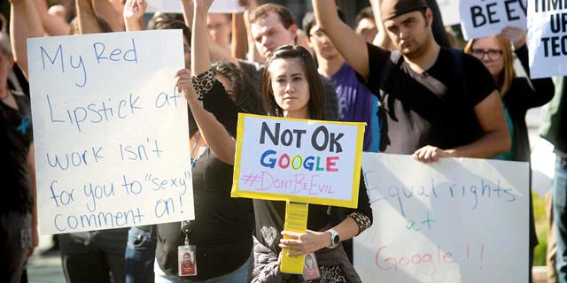 הפגנה של עובדי גוגל נגד מדיניותה בתחום ההטרדה המינית, צילום: איי פי
