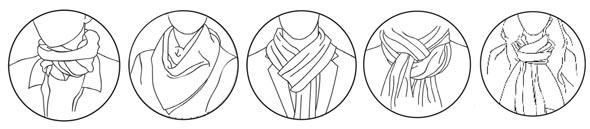 מימין: קשר קלאסי, קשירה צרפתית, עניבה מרושלת, קשר משולש ועיטוף צוואר