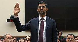 """סונדאר פיצ'אי מנכ""""ל גוגל עדות בקונגרס, צילום: מתוך שידור חי של ועדת המשפט של הקונגרס האמריקאי"""