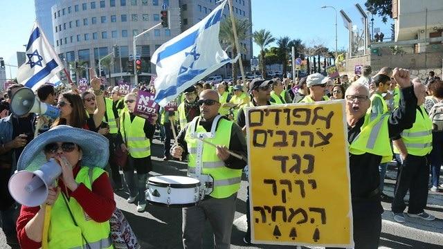מחאת האפודים בתל אביב, צילום: מוטי קמחי