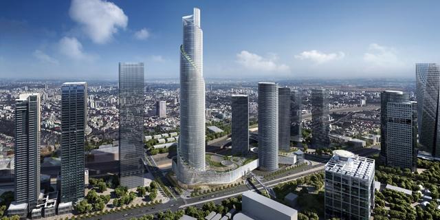 """נחשף עיצובו של המגדל הרביעי של מרכז עזריאלי בת""""א - מגדל הספירלה"""