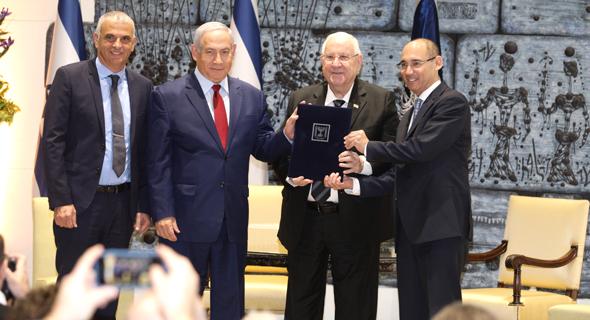 נגיד אמיר ירון ראובן ריבלין בנימין נתניהו משה כחלון , צילום: בנק ישראל