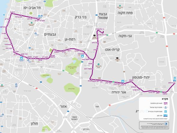 מפת הקו הסגול של הרכבת קלה