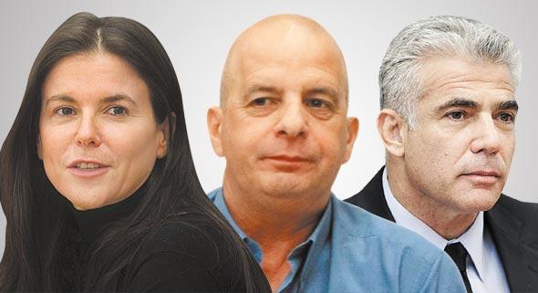מימין יאיר לפיד יובל דיסקין ו עפרה שטראוס, צילומים: אלכס קולומויסקי, עמית שאבי ,אוראל כהן
