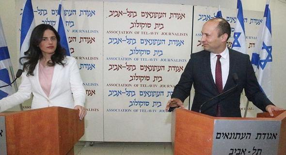 נפטלי בנט ו איילת שקד ב מסיבת עיתונאים הכרזו על הקמת מפלגה חדשה הימין החדש, צילום: מוטי קמחי