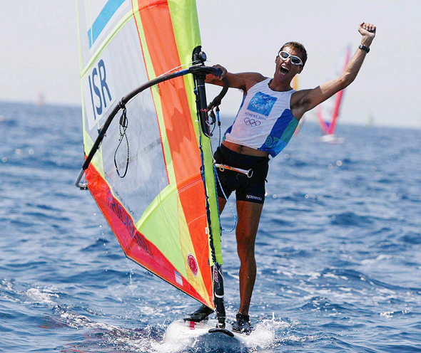 Windsurfer Gal Fridman winning gold medal, 2004. Photo: Reuven Schwartz