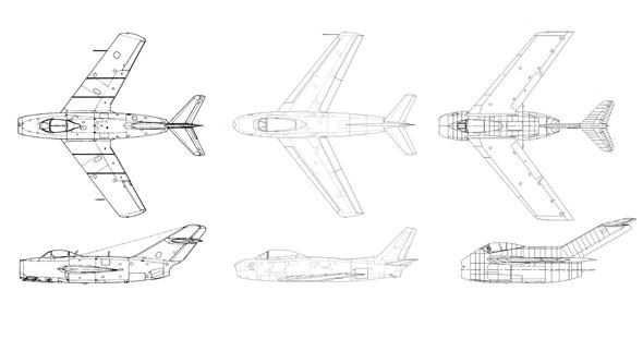 מימין: TA183 נאצי, F86 אמריקאי ומיג 15 רוסי