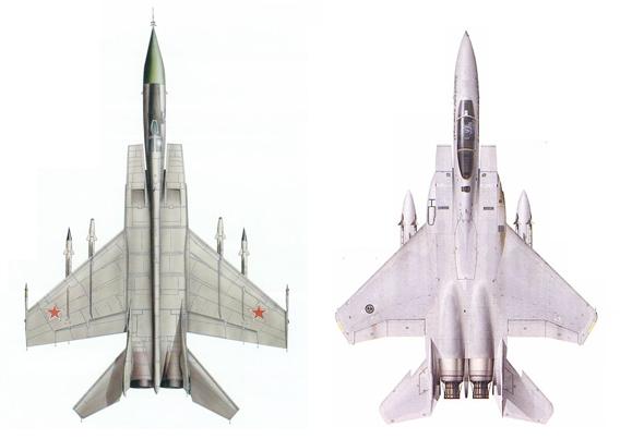 F15 ומיג 25. האחד הוביל לפיתוחו של השני, צילום: RCgroup + militaryphoto