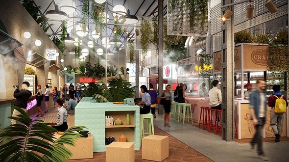 הדמיית שוק Agora בלימסול, קפריסין. 30% מהעסקים ימכרו אוכל ישראלי