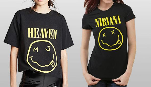 מימין: חולצה של הלהקה. משמאל: חולצה של ג