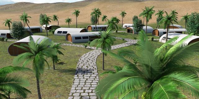 השכונה האקולוגית המתוכננת במצפה רמון (הדמיה)