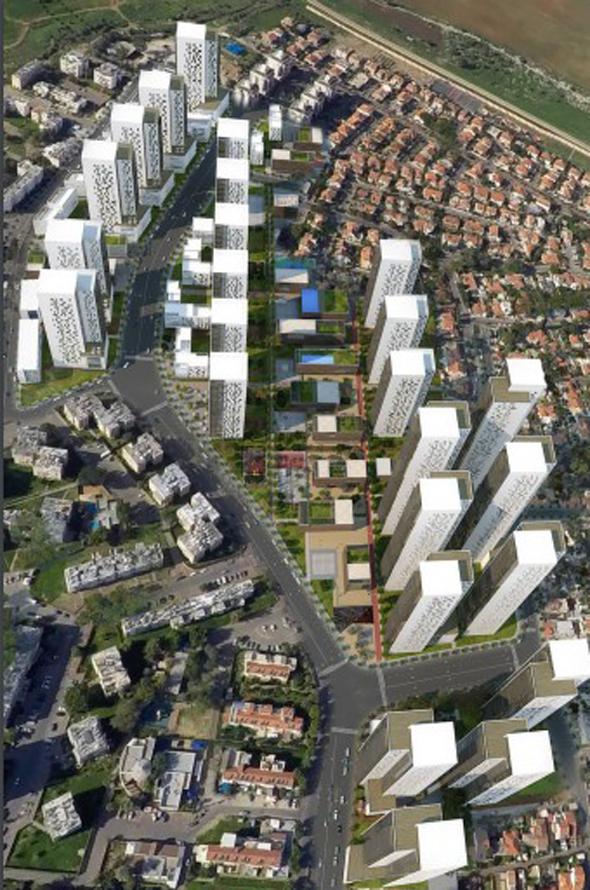 """הדמיית הפרויקט ברמלה, הדמיה: משה צור אדריכלים-בוני ערים בע""""מ"""