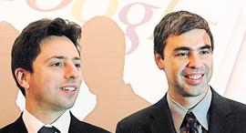 מוסף שבועי 31.3.16 קפיטליזם מעקב מימין סרגיי ברין ו לארי פייג' מייסדי גוגל, צילום: אי פי איי