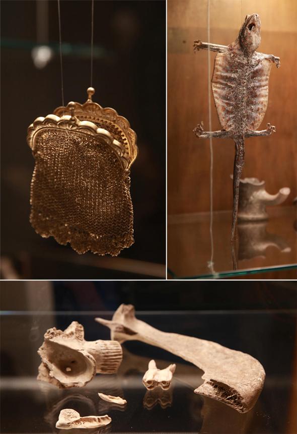 """מוצגים בתערוכה """"השלכות חוקיות של חלום"""" של פלקייטה. ערבוב של ממצאים ארכיאולוגיים אמיתיים ומפוברקים, צילום: אוראל כהן"""