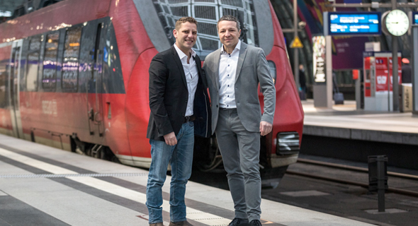 Enroute CEO Aviv Frenkel (left) and DB REgio's Chief Information Officer Andreas Hamprecht. Photo: Boaz Arad