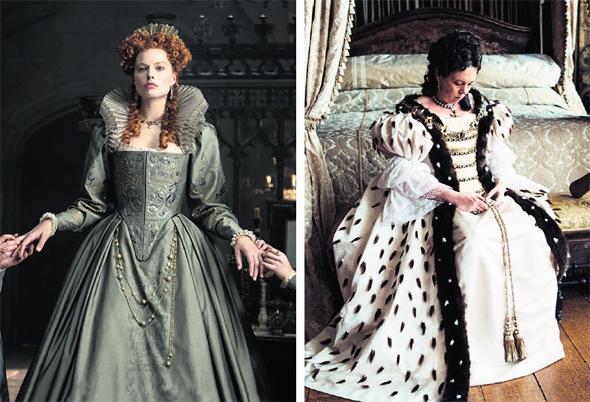 """מימין: אוליביה קולמן כמלכה אן פרנואידית ב""""המועדפת"""" ומרגו רובי כמלכה אליזבת גרוטסקית ב""""מרי מלכת הסקוטים"""""""