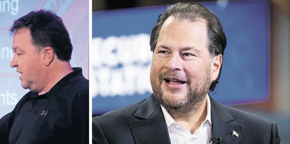 """מימין: מייסד ומנכ""""ל סיילספורס מארק בניוף ומנכ""""ל קליקסופטוור מארק קאטיני, צילום: בלומברג"""
