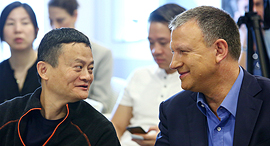 Alibaba founder Jack Ma (left), JVP founder Erel Margalit (right). Photo: Dror Sithkol