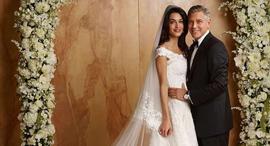 שמלת חתונה אמאל אלאמודין מעצב אוסקר דה לה רנטה, צילום: Luxastic