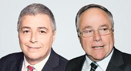 """מימין יו""""ר חברת הביטוח הראל יאיר המבורגר ו מנכ""""ל בנק הפועלים אריק פינטו"""