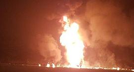 אש בוערת מצינור הדלק