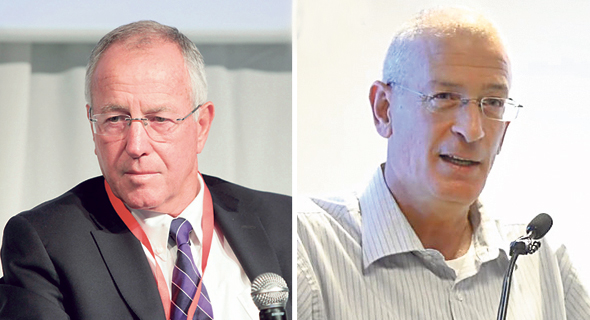 """מימין: המנכ""""ל הפורש של אסותא אשדוד דוד דגן, ומנכ""""ל מכבי רן סער"""