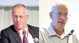 """מימין: המנכ""""ל הפורש של אסותא אשדוד דוד דגן ומנכ""""ל מכבי רן סער, צילום: עמית שעל"""