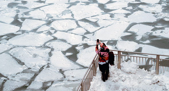 קרח בשיקגו, גל הקור ינואר 2019, צילום: רויטרס